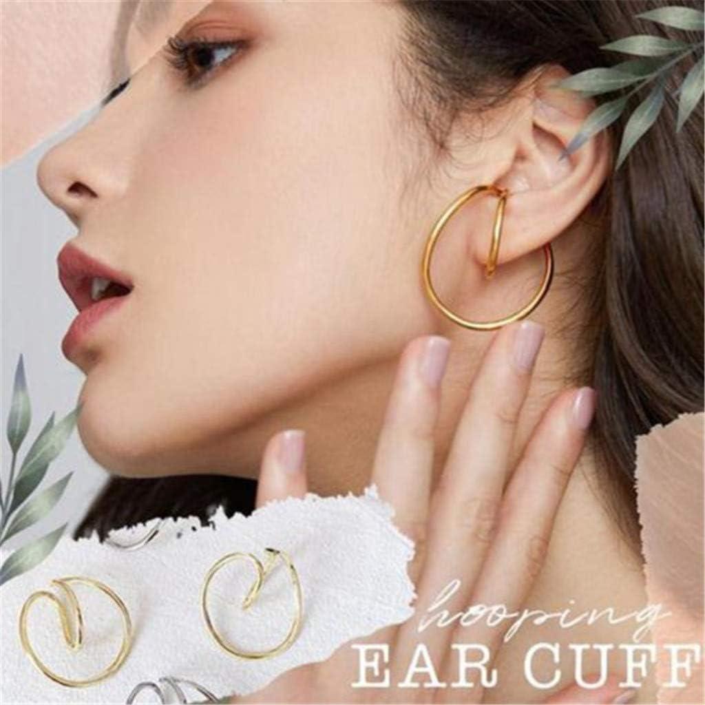 Hooping Ear Cuff, Newest Gorgeous Earring Ear Clip for Girls Women, Pair of Geometry Minimalist Hoop Earrings with Good Glossiness, Earrings Wrap, Hypoallergenic No Piercing Women's Jewelry