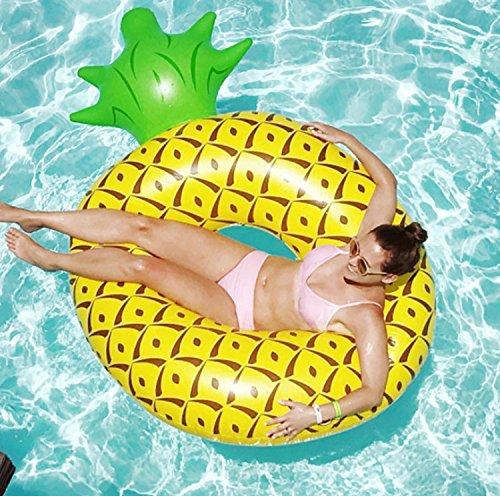 Xin Ling Ananas Schwimmring, [Riesen&Besonders Design,182*116*36cm] PVC Schwimmreifen Aufblasbar Luftmatratze Max.150KG Ertragbar Floating-Ring für Erwachsene auf Party, Schwimmbad, Pool und Strand