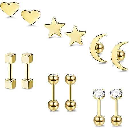 BESTEEL 3-6 Pares Acero Inoxidable Pendientes de Estrella Luna y Corazón de las Mujeres Aretes Pendientes Piercing Cartilago Joyería de Moda