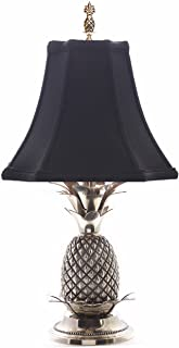 KensingtonRow Home Collection Lamps - Williamsburg Pineapple Table LAMP - Pewter Finish with Black Shade