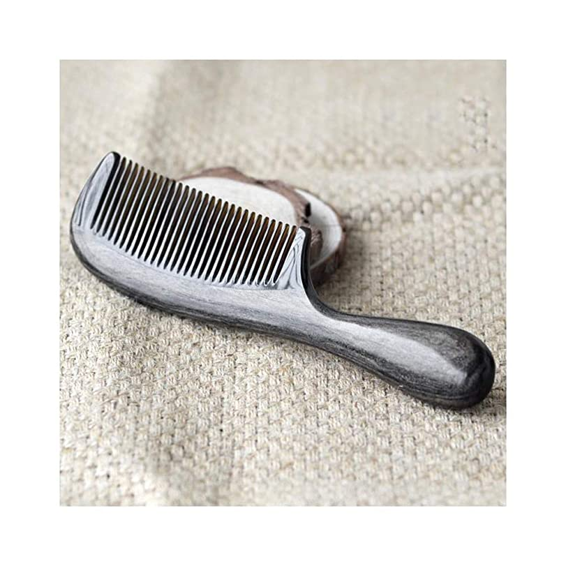ハブブインストールレギュラーWASAIO 髪ブラシ手作り天然水牛角くし帯電防止ポータブル理髪くし (色 : 黒)