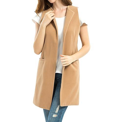 ecac652839da5f Cekaso Women s Blazer Vest Slim Fit Open Front Lapel Longline Solid Suit  Vest Coat