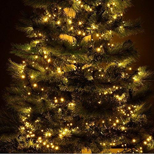 gresonic-Led-Cluster-6m lang-Lichterkette-Strombetrieb Deko für Innen Außen Garten Weihnachtsbaum Hochzeit (Warmweiss Dauerlicht, 300LED)