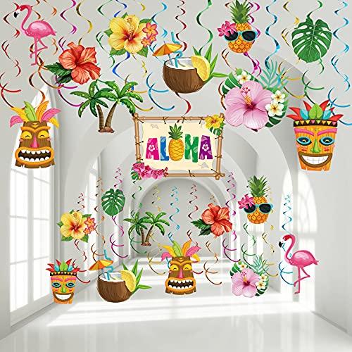 30 Decoraciones de Remolino Colgante de Fiesta de Cumpleaños Hawaiano de Luau, Signo de Palma Flamenco Tropical Aloha Decoración de Techo de Papel de Aluminio para Fiesta Tropical Hawaiana