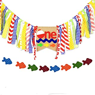 Fishing Happy Birthday Bobber Banner Little Fisherman Kids Party Decoartion