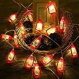 ANZOME 20-LED 3m/9.8ft linterna roja mini cuerdas de queroseno luz de hada, 2 modos de iluminación alimentada por batería para el hogar, boda, fiesta, regalo para la familia Ramadán decoración (rojo)