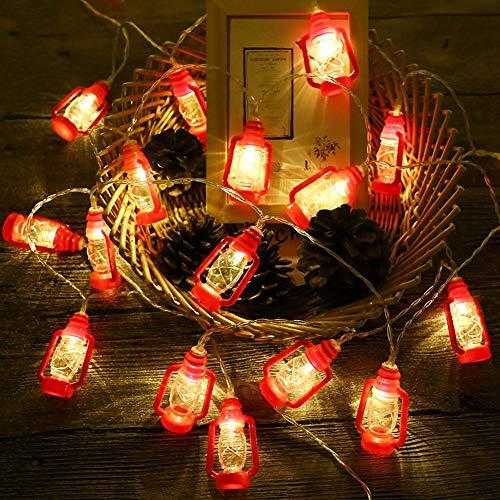 ANZOME 20-LED 3m/9.8ft Red Lantern Mini Kerosene Fairy Strings Light, 2 Modes Battery Powered Lighting for Home Wedding Party Gift for Ramadan Family School Parties Decor(Red)