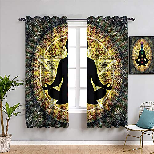 chakra decor Soundproof Privacy Window Curtains, Curtains 63 inch length silhouette of meditating body with vital energy point reflections kitsch artprint Easy to install W52 x L63 Inch multi