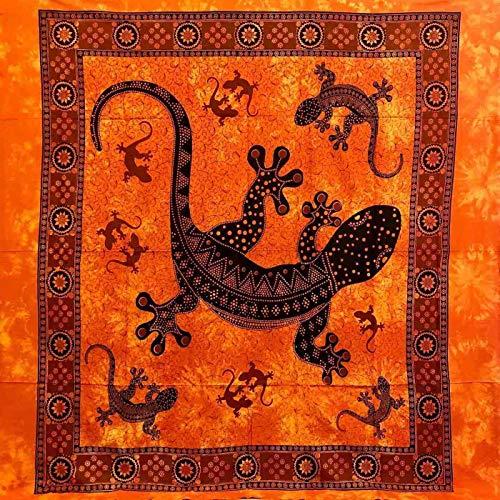 Telo Arredo Copritutto Grande Geko 210x230 cm 100% Cotone Copri divano Gran foulard con Frange Batik (Arancione)