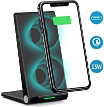 R10 PRO 15W Wireless Charger Stand,Dual Coil Foldable USB C Qi Flat Charging Pad Station Phone Holder Compatible iPhone Xs/Max/XS/XR/X/8/8+, Samsung S10/S10+/S9/S9+/S8/S8+/S7/S7+