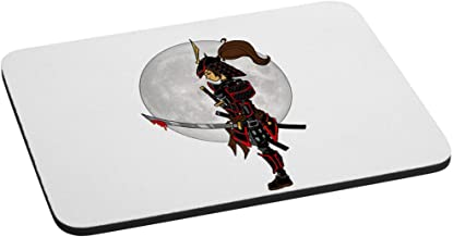 Lady Samurai Warrior Solemnly Standing in Front of Moon with a Bloody Sword Computer Mouse Pad