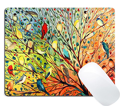 Wknoon Cute Bird Gaming Mouse Pad, Gorgeous Illustration Painting 16 Birds Stand on The Tree Colored Print Art