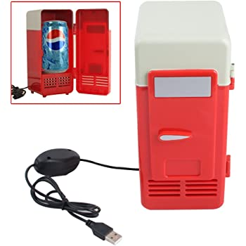 USB Fridge Cooler /& Warmer Keep Warm and Cold HQF Mini USB-Powered Beverage Drink Cans Cooler//Warmer Refrigerator Black, Small for PC Laptop Car Home office