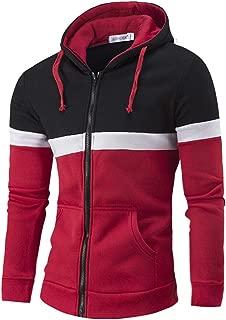 Hoodies for Men Zipper Jackets Color Patchwork Hooded Jackets Coats Outwear