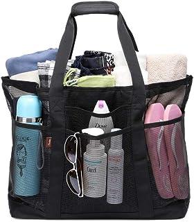 Acmebon Strapazierfähige, großmaschige Strandtasche für Frauen, Tragetasche, Sporttasche mit 9 Fächern Schwarz