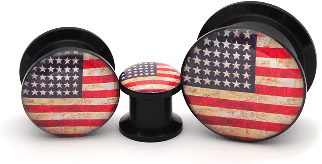 Mystic Metals Body Jewelry Black Acrylic American Flag Picture Plugs - Sold as a Pair