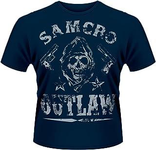 Plastichead Sons Of Anarchy Outlaw - Estampados de música y cine, con manga corta para hombre, color blau/blue, talla S