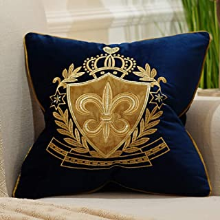 Avigers 18 x 18 Inch Shield Embroidery Velvet Cushion Cover Luxury European Pillow Cases Pillowcase Home Decorative for Sofa Chair Bedroom Throw Pillow, Navy Blue