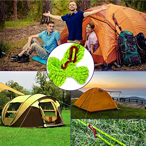 7E TRADING 4mm Diameter 164ft /50m Long Reflective Tent Rope Camping Cord with 10 PCS Red Tensioners for Camping Hiking 、Tool bundling.ect(Reflective Green)