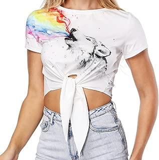 AHADOP Women's Sport Crop Top Summer Sexy Casual T-Shirt