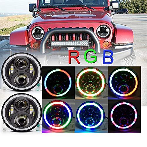 LED Phares Ronds 17.8cm RVB modes d'eclairage Nouveau Style 60W Projecteur avant Haut/Bas Faisceau avec Anneau Bague Lumineux multicolore pour véhicule(2 pièces)