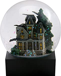 YTC 4.25 Inch Haunted House Water Globe with a Green Tree and Flying Bats