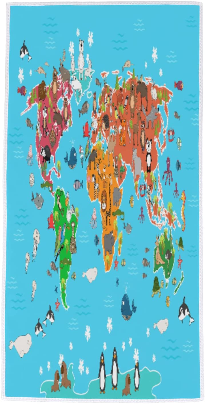 Towels World Map Animer and price revision Animal Hand Lightweight Absorbent Wa Soft Beauty products Towel