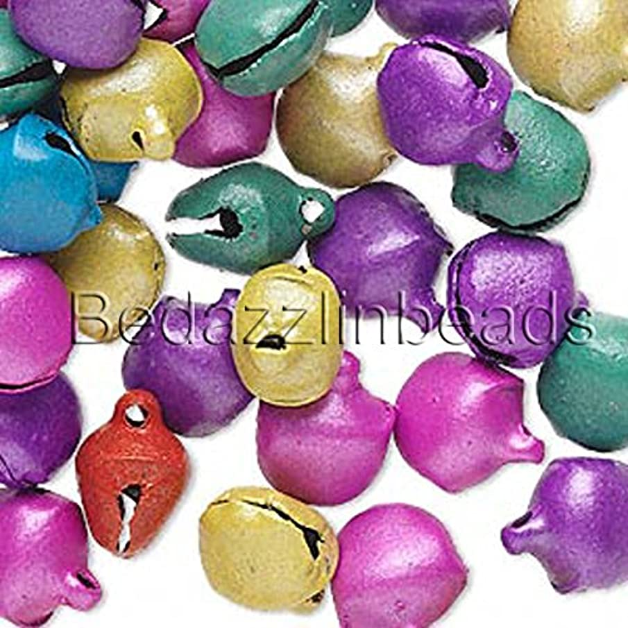 40 10mm 3/8 inch Steel Craft Jingle Bells With Loop Use as Dangle Charms (Pastel Mix)