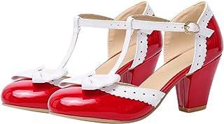 Happyyami Vrouwen Laniere Pomp Mary Jane Rockabilly Schoenen Vrouwen Mid Heel 6.5 CM Vierkante Blok Enkelband Boog Zoete L...