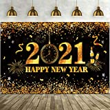 Happy New Year 2021 Backdrop Golden Glitter Stars Edge 2021 Pocket Watch Dial Countdown Photography Background Banner 2021 New Year's Eve Party Decoration Supplies, 72.8 x 43.3 Inch