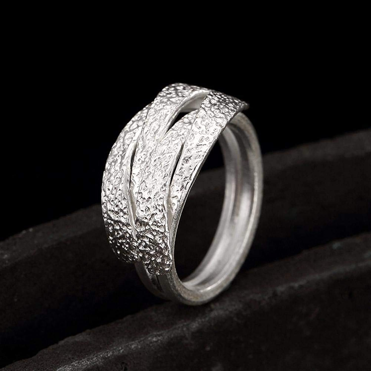DTZH Rings Jewellery Ring S925 Pure Silver Female Simple Personality Hand Woven Winding Ring Gift to Dear People