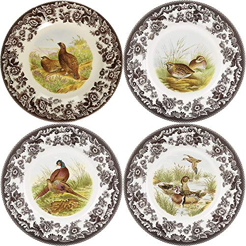 Spode Woodland Canape Plates Assorted Motifs, Set of 4
