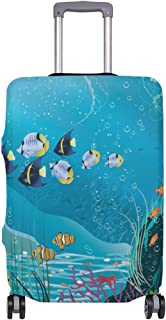 Mydaily Tropical Fishes Underwater Landscape Luggage Cover Fits 18-32 Inch Suitcase Spandex Travel Baggage Protector