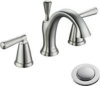 ENZO RODI Bathroom Faucet, Two-handle 3 -holes Widespread Bathroom Sink Faucet with Lift Pop Up Drain Assembly, Brushed Nickel, Certified by UPC,AB 1953 Lead-Free, NSF Standrard, ERF2212254AP-10