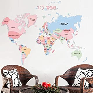 Colored Letters World map DIY Vinyl Wall Stickers Kids Room Love Home Decor Office Art Decals 3D Wallpaper Stickers on The...