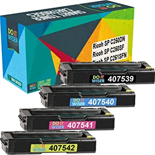 Best Do it Wiser Compatible Toner Cartridge Replacement for Ricoh SP C250DN SP C250SF SP C261SFN | 407539 407540 407541 407542 (4 Pack) Review