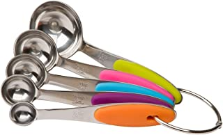 Bullidea Stainless Steel Measuring Spoons Sets of 5 with Silicone Handles,Measure Dry and Liquid Ingredients