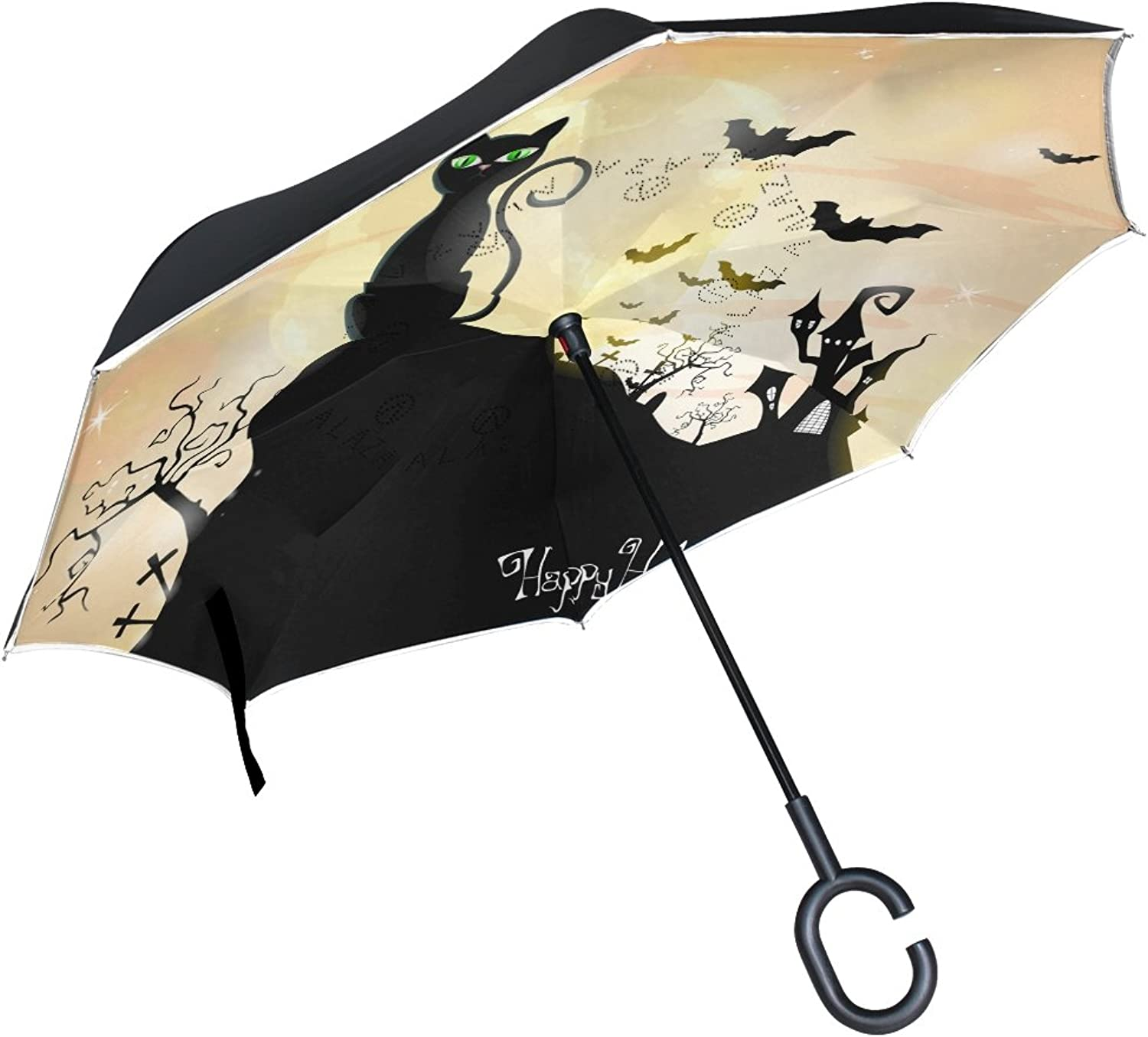 MASSIKOA Happy Halloween Cats And Bats Ingreened Double Layer Straight Umbrellas Inside-Out Reversible Umbrella with C-Shaped Handle for Rain Sun Car Use