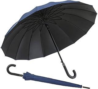 MissZZ Coupe-Vent Large 16 Ribs Parapluie Ouverture Automatique pour Hommes Femmes Classique Poignée De Parapluie Léger Du...