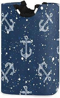 ZOMOY Grand Organiser Paniers pour Vêtements Stockage,Motif de mer Transparente Ancre Les éclaboussures d'ondes,Panier à L...