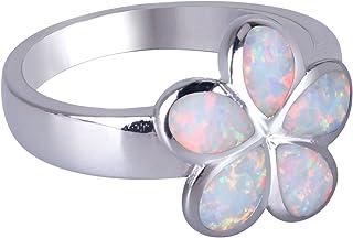 Anelli KELITCH per donna, ragazza, foglia, opale blu, impilabile, anello, 925, argento sterling, placcato, donna, Jewellry...