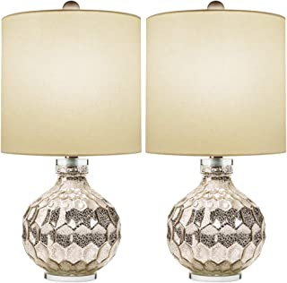 "2 x Silver Hexagon Mercury Glass Table Lamp with Crystal Base & White Linen Drum Shade,Hand Crafted Elegant Bedroom Lamps for Nightstand Set of 2,19"" High Harp Construction,E26 Medium Base"
