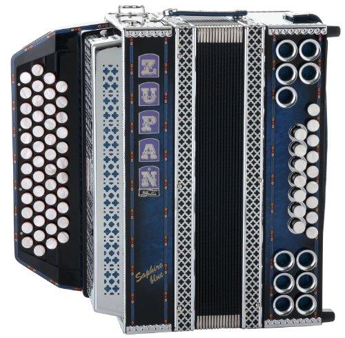 Zupan Saphire Blue IVD Harmonika - Stimmung: G-C-F-B - 48 Diskantknöpfe - 16 Bassknöpfe - Helikonbässe - X-Bass - Inkl. Trageriemen mit Querriemen, Poliertuch und Luxuskoffer - Shadow Blue