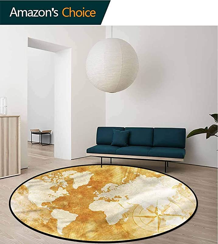 RUGSMAT Compass Machine Washable Round Bath Mat Old Fashioned World Map Living Dining Room Bedroom Hallway Office Carpet Diameter 24