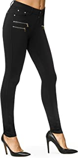 Bamans Womens Dress Pants Skinny Leg Slim Ankle Pants 5 Pockets Stretch Knit Yoga Work Pants/Button Closure & Zipper Details