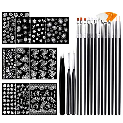 Canvalite 3D Flower Nail Stickers, 10 Sheet Designer Nail Decals with 15 Pcs Professional Nail Art Brushes