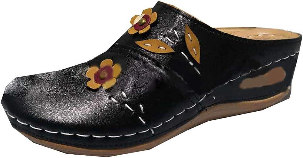 Vimisaoi Mule Slide Sandals for Women, Casual Flower Slip On Wedge Sandals Slippers