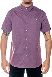 Men's Short-Sleeve Button Down Printed Peached Poplin Shirt