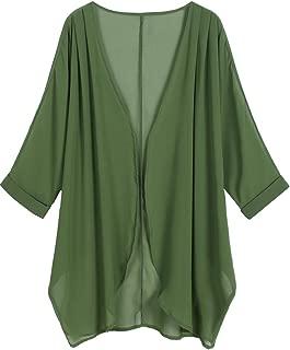 Women's Floral Print Sheer Chiffon Loose Kimono Cardigan Capes