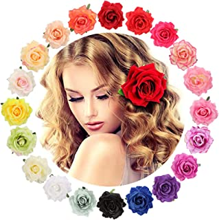 Scoolr Blumen-Haarspangen für Damen, 20 Stück, Rosenblüten-Brosche, mehrfarbige Rosen-Haarspange für Frauen, Mädchen, Party, Strand, Hochzeit, Flamenco-Tänzerin